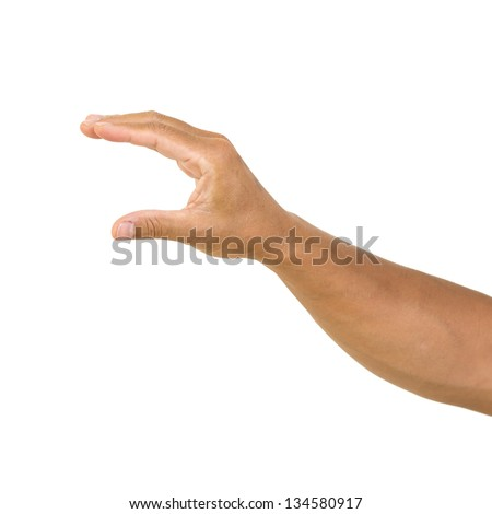 man hand hold card, isolated on white background. man hand holding empty space for your choice