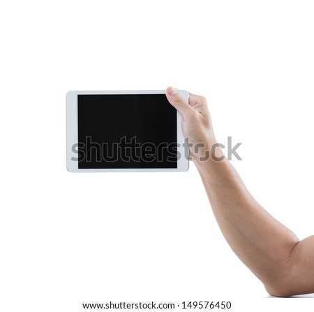 Man hand hold digital tablet isolated on white background with clipping path - stock photo