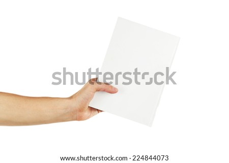 Man hand hold empty card isolated on white