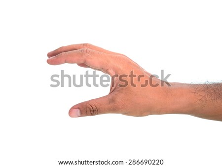 man hand hold virtual business card, credit card or blank paper isolated on white background - stock photo