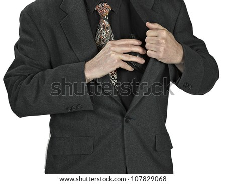 man hand holding a  leather wallet on white background - stock photo