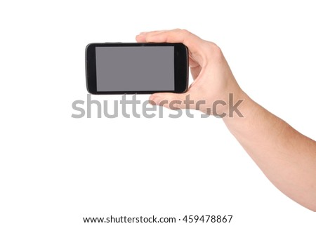 Man hand holding a smart-phone with blank screen isolated on white
