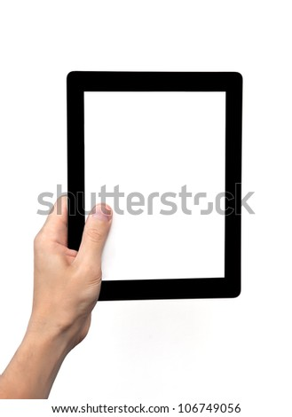 man hand holding a tablet touch computer gadget with isolated screen