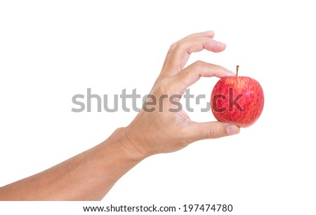 Man hand holding apple isolated on white background, clipping path