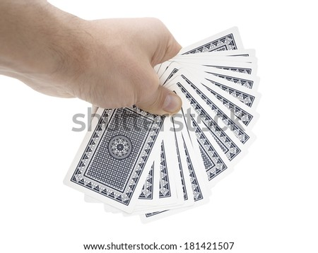 Man hand holding cards on white background with clipping path