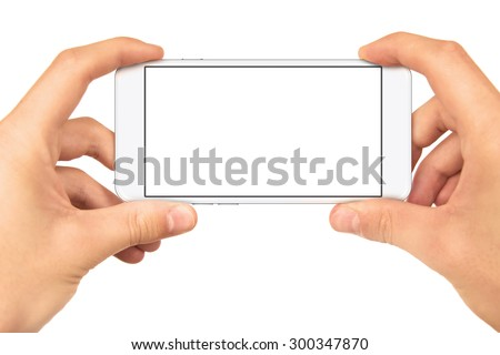 Man hand holding horizontal the black smartphone with blank screen, isolated on white background, - stock photo