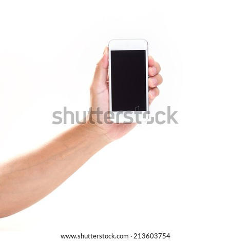 Man hand holding mobile phone on white background - stock photo