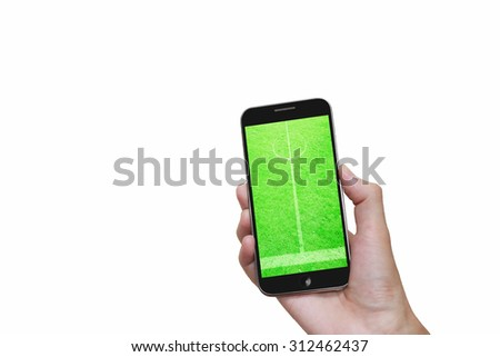 Man hand holding mobile smart phone with football stadium,on white background