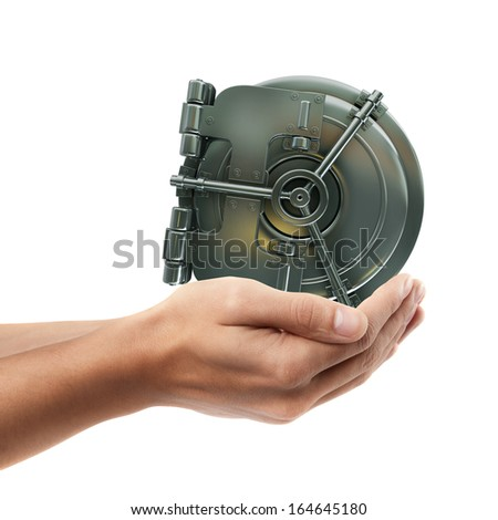 Man hand holding object ( bank vault door )  isolated on white background. High resolution  - stock photo