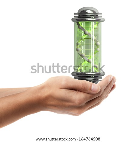 Man hand holding object ( capsule with Sample DNA )  isolated on white background. High resolution  - stock photo