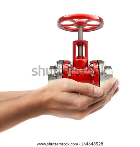 Man hand holding object ( pipe with a red valve )  isolated on white background. High resolution  - stock photo