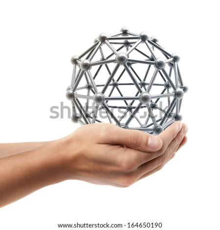 Man hand holding object ( silver glossy molecules structure )  isolated on white background. High resolution  - stock photo