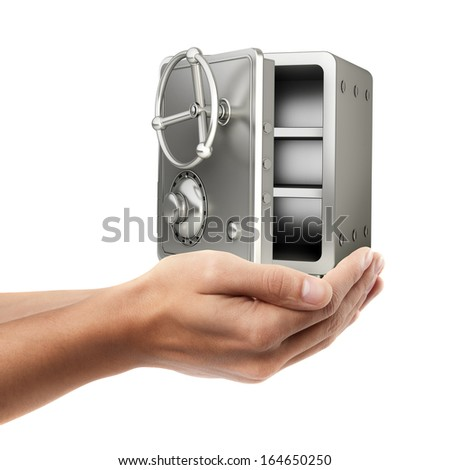 Man hand holding object ( steel safe )  isolated on white background. High resolution