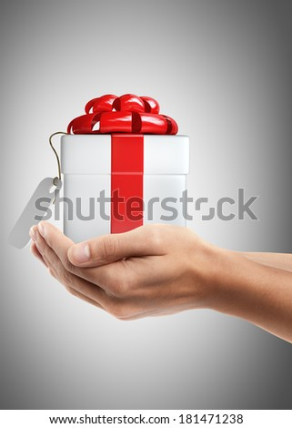 Man hand holding object ( white gift box with red ribbon and bow ) High resolution   - stock photo