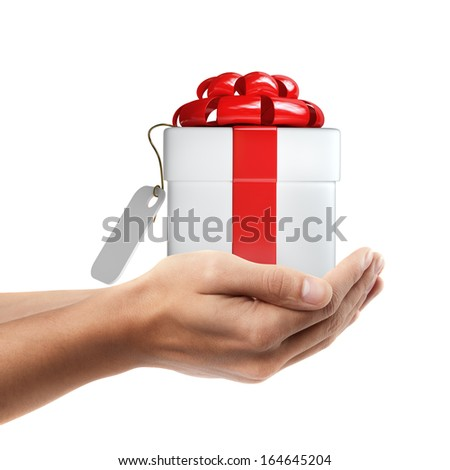 Man hand holding object ( white gift box with red ribbon and bow  )  isolated on white background. High resolution  - stock photo