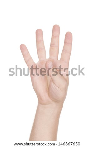 Man hand holding on a white background.