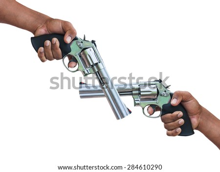 man hand holding revolver on isolate background - stock photo