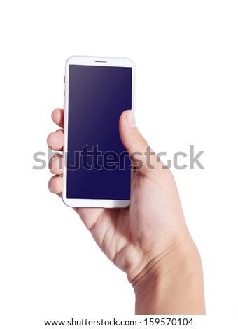 Man hand holding smart phone like  , isolated on white background - stock photo