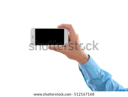 Man hand holding smartphone, isolated on white