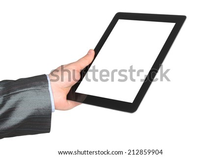 Man hand holding tablet PC on white background   - stock photo