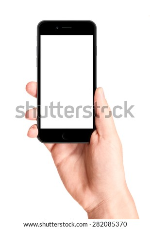 Man hand holding the black smartphone with blank screen, isolated on white background.