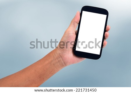 man hand holding the phone tablet - stock photo
