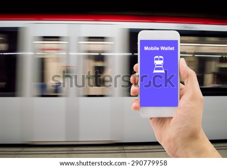 man hand holding the phone touch with a mobile wallet .All screen content is designed by us and not copyrighted by others and created with digitizing tablet and image editor - stock photo