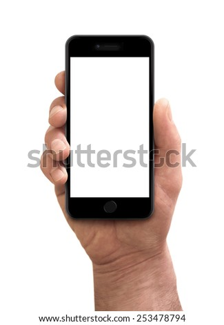Man hand holding the smartphone, iPhon 6 plus style - stock photo