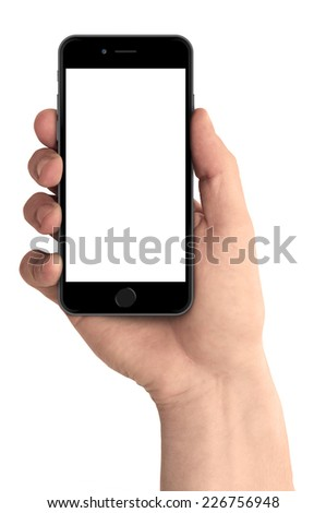 Man hand holding the smartphone, iphon 6 style - stock photo