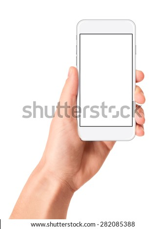 Man hand holding the white smartphone with blank screen, isolated on white background. - stock photo