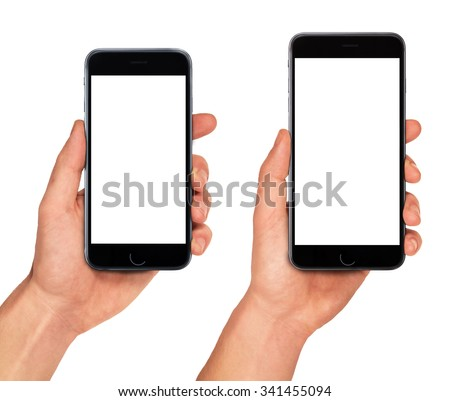 Man hand holding two smartphones in different sizes - blank screen mockup, isolated on white background - stock photo