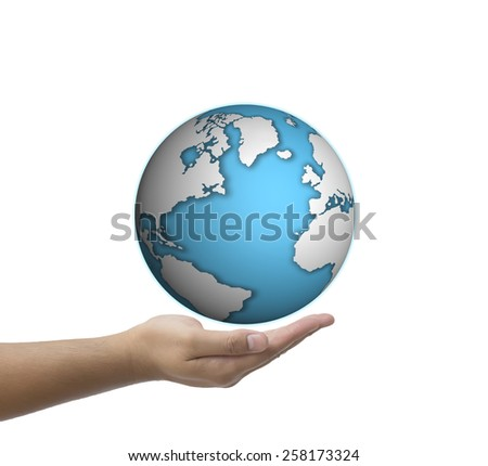 man hand holding world globe