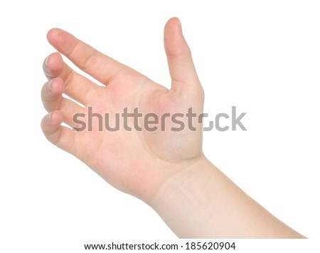 Man hand holds virtual card or smart phone on white background   - stock photo