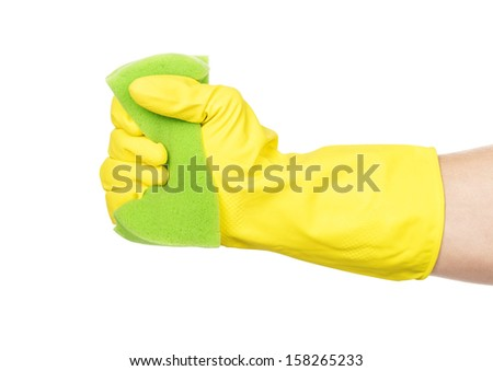 man hand in rubber glove with sponge isolated on white background