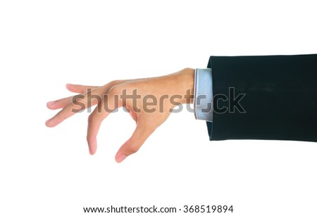 Man hand in suit showing gesture on white background. - stock photo