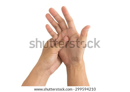 man hand injury white background - stock photo