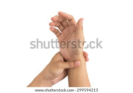 man hand injury white background