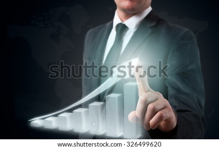 man hand is drawing a up graph. - stock photo