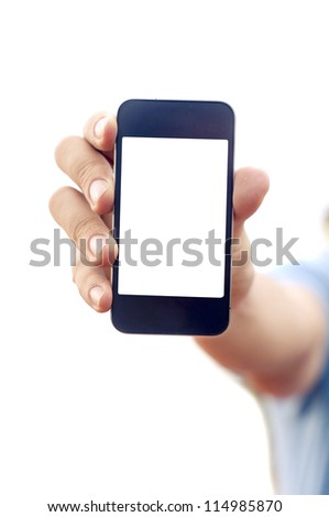 man hand is holding smartphone or phone to show what is on the phone. clipping path of the screen is in jpg. - stock photo
