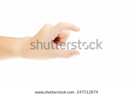 Man hand is picking on isolated white background