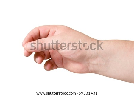 man hand isolated background  with path - stock photo