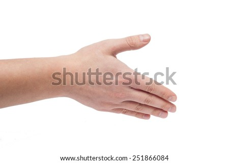Man hand isolated on the white background