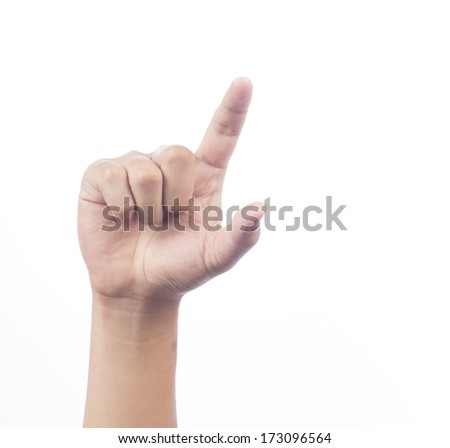 man hand isolated on white background - stock photo