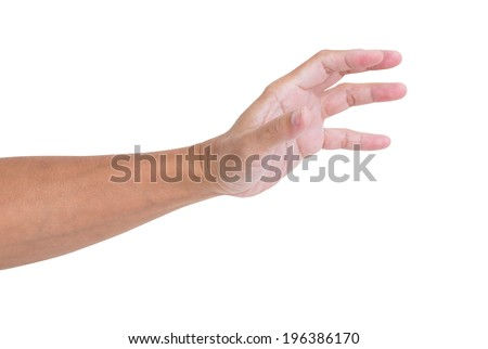 Man hand isolated on white background, clipping path - stock photo