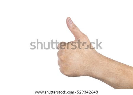 Man hand isolated on white background with clipping paths