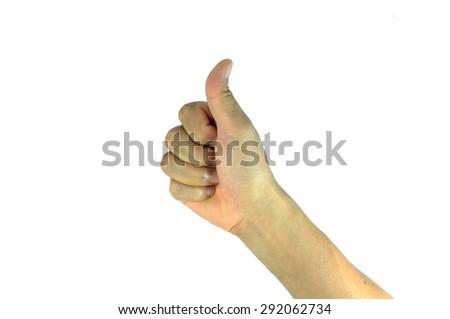 man hand making sign GOOD. on white background - stock photo