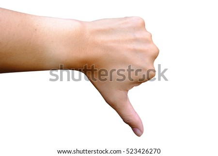 man hand making sign Isolated on white background