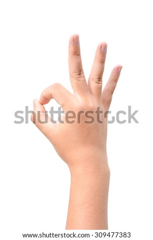 Man Hand OK sign isolated on white background