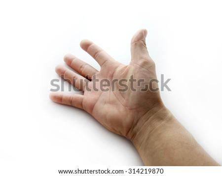 man hand on white background - stock photo