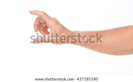 Man hand on white background - stock photo